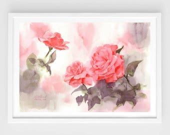 "Original watercolor,red roses,flower garden,original painting,8""1x11"",home decor"