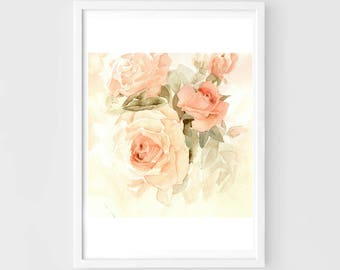 """Original flower watercolor, roses in the morning,blooming roses,original painting,8""""3x8""""3,garden,home decor"""
