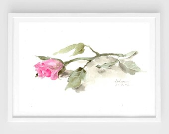 "Original flower watercolor, purple rose, original painting,7""x10"", garden, home decor"