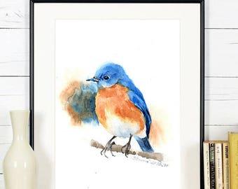 """Original painting, blue bird, 5""""x7""""(13x19cm),home decor"""