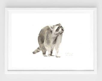 "Original watercolor,raccoon,original painting,7""x9""4,home decor"