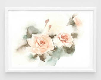 "Original flower watercolor, love rose,blooming roses,original painting,7""x10"",garden,home decor"