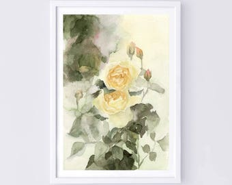 """Original flower watercolor, """"be together"""",blooming roses,original painting,7""""x10"""",garden,home decor"""
