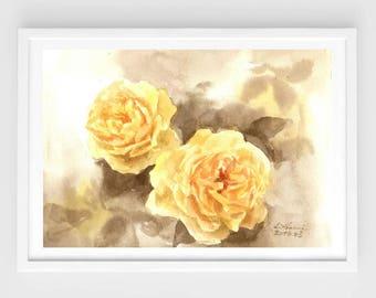 "Original flower watercolor,yellow roses, 7""x9""4,blooming roses,original painting,garden,home decor"