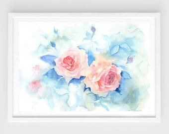 "Original flower watercolor ,dream roses ,original painting,7""x10"",garden,home decor"