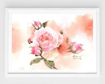 "Original flower watercolor, apricot peony,blooming roses,original painting,8""3x11""8,aquarelle originale,garden,home decor"