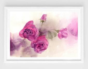 "Original flower watercolor,red roses,original painting,8""3x11""8,aquarelle originale,garden,home decor"