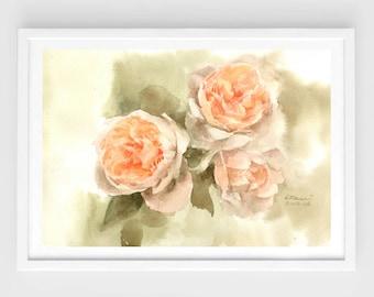 "Original flower watercolor,Peony,blooming peonies,original painting,8""3x11""8,aquarelle originale,garden,home decor"