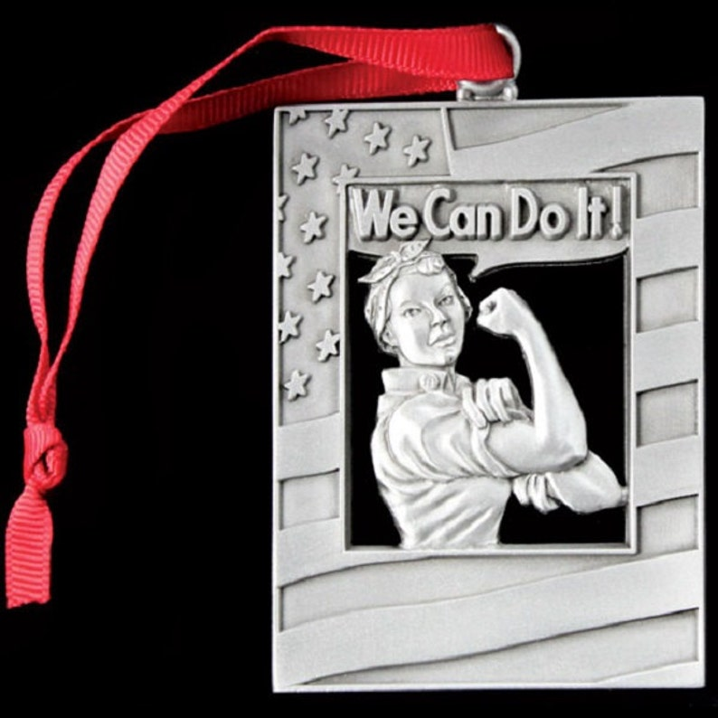 Rosie the Riveter Pewter Christmas Ornament image 0