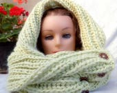 Knitted scarves , womens shawl, wraps, scarves, green infinity, Knitted shawl, Wool knit wraps, Womens Accessories, Winter shawl, Boho