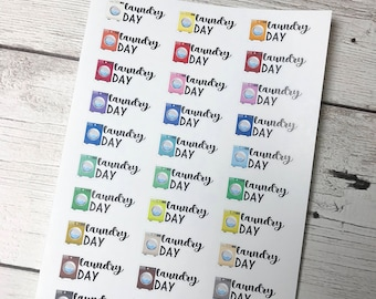 Laundry day planner stickers | laundry tracker stickers | FU032