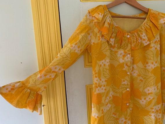 Semi-sheer Bright Yellow Floral Shift Dress - image 2