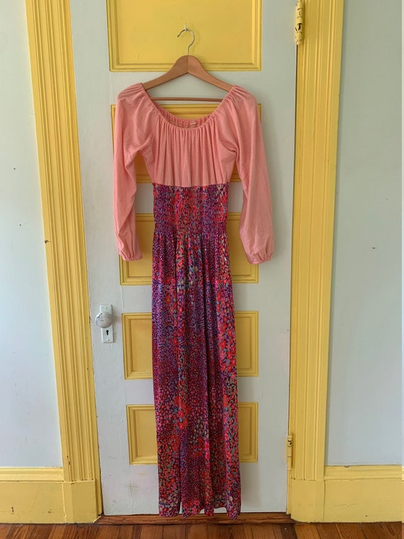 Sweet Seventies Off-the-shoulder Peasant Maxi Dres