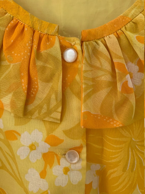 Semi-sheer Bright Yellow Floral Shift Dress - image 3