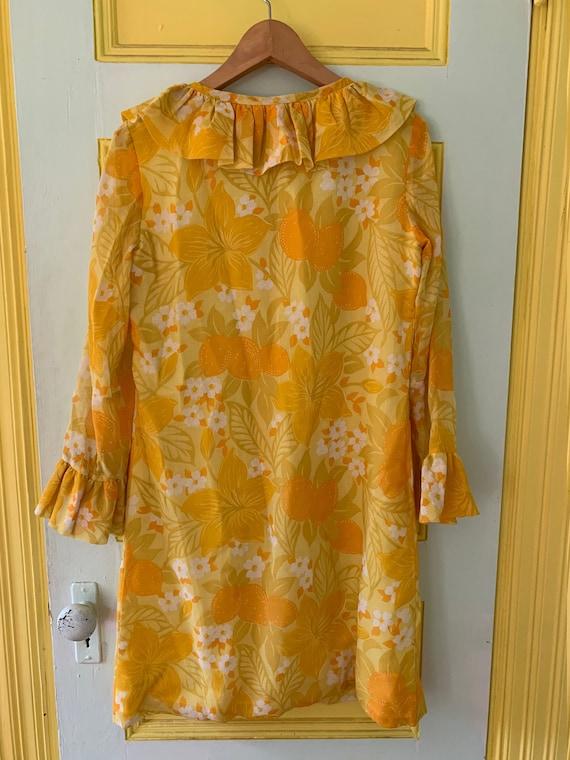 Semi-sheer Bright Yellow Floral Shift Dress - image 4