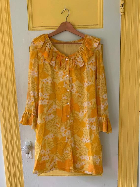 Semi-sheer Bright Yellow Floral Shift Dress - image 1