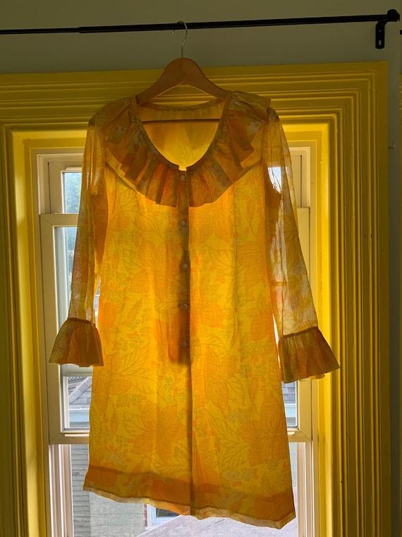 Semi-sheer Bright Yellow Floral Shift Dress - image 6