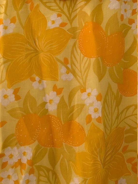 Semi-sheer Bright Yellow Floral Shift Dress - image 5