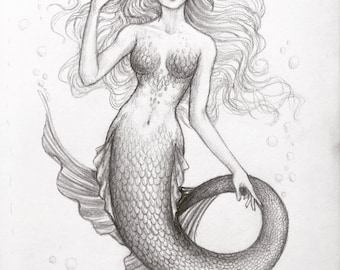 Mermaid Portrait Etsy