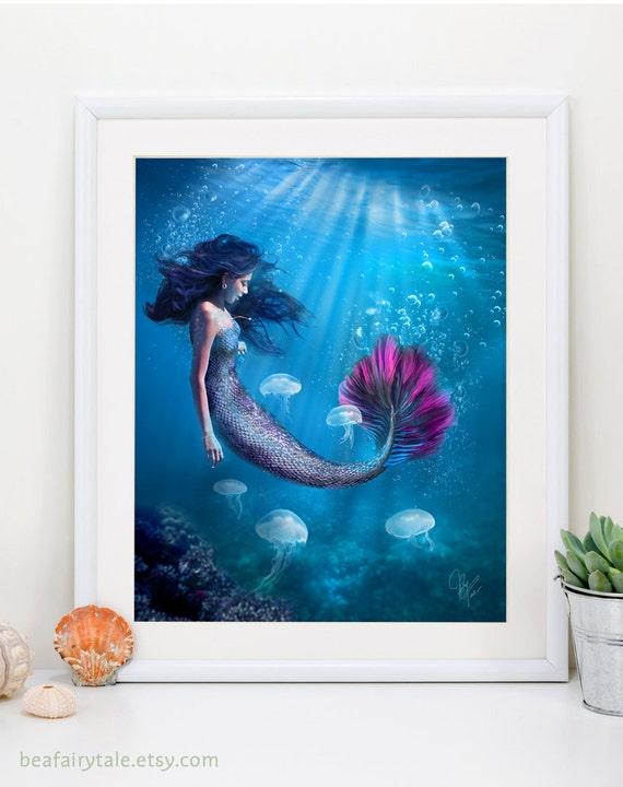 Mermaid Art Print Fantasy Digital Painting Wall