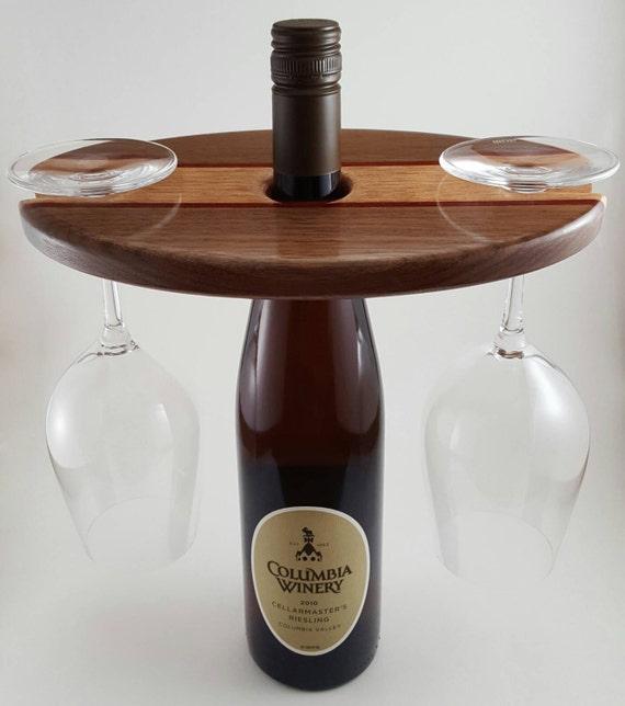 Wooden Wine Caddy Wine Display Wine Glass Holder Wine Etsy