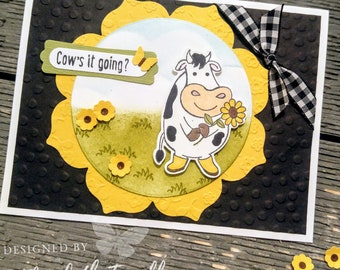 4 Stampin' Up Over The Moon Hello Cow's It Going Cows Card Kits Thank You Birthday Cow Embossed handmade Card Kit Hand Stamped DIY