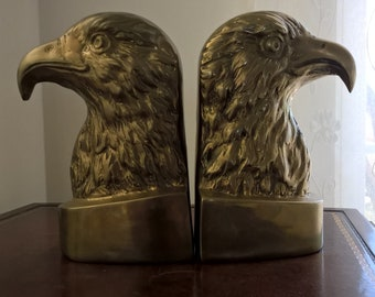 Genuine Solid Brass Eagle Bookends - Handcrafted