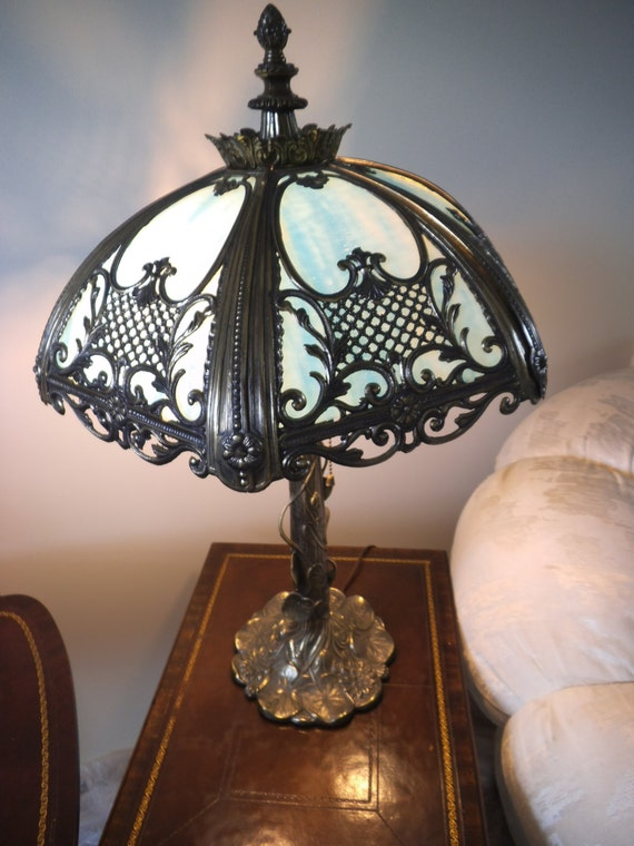Antique Style Art Nouveau Slag Glass Table Lamp Polychrome Etsy
