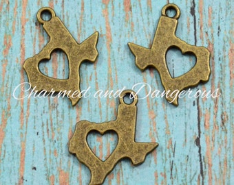 10 bronze Heart of Texas charms (CM224)