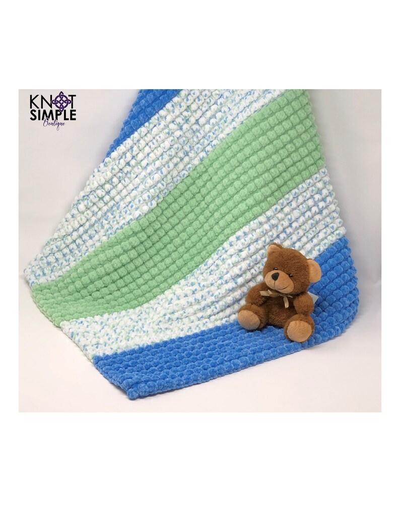 Green & Blue Bobble Pattern Baby/Toddler Blanket image 0