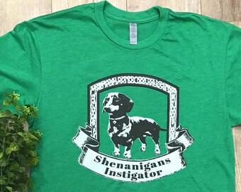 SHENANIGANS INSTIGATOR Green Unisex T Shirt,  Dachshund Shirt, Wiener Dog, Doxie Weiner Dog, Dachshund Gift, Ireland, Irish, Weenies, Weens