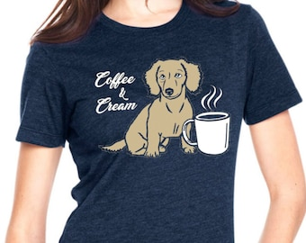 COFFEE & CREAM: Navy T Shirt, Doxie, Weiner Dog, Dachshund Shirt, Dachshund Gift, English Cream, Wiener Dog, Sausage Dog, Doxie Shirt,Teckel