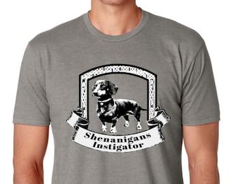 SHENANIGANS INSTIGATOR Grey Unisex T Shirt,  Dachshund Shirt, Wiener Dog, Doxie Weiner Dog, Dachshund Gift, Ireland,Irish,Ween,Weens, Weenie