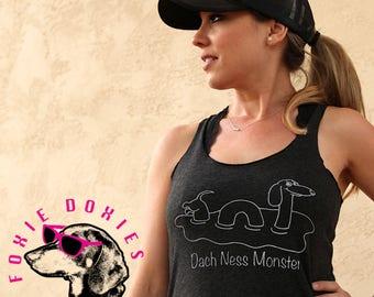 DACH NESS MONSTER Vintage Black Tank Top, Dachshund, Doxies, Weiner Dog, Doxie, Dachshund Shirt, Sausage Dog, Wiener Dog, Loch Ness Monster