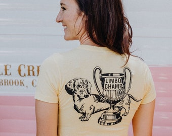 LIMBO CHAMP Dachshund T-Shirt Banana Yellow, Doxie, Doxies, Weiner Dog, Doxie Lover, Wiener Dog, Sausage Dog, Weiner dog gift, Wiener Dog