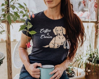 COFFEE & CREAM: Navy T Shirt, Doxie, Weiner Dog, Dachshund Shirt, Dachshund Gift, English Cream, Wiener Dog, Sausage Dog, Doxie Shirt,Teckel