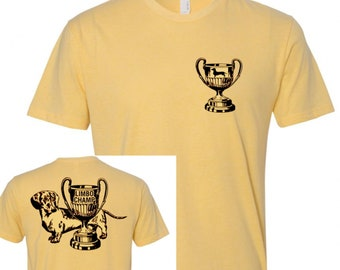 LIMBO CHAMP Dachshund T Shirt Unisex, Doxie, Wiener Dog, Sausage Dog, Weiner Dog gifts, vintage, Banana Yellow, Doxies, Dachshunds, Trophy
