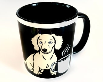 COFFEE & CREAM: Black handle Ceramic Coffee Mug, Doxie Gift, Weiner Dog Gift, Dachshund Gift, Dachshund Mug, English Cream, Wiener Dog Mug