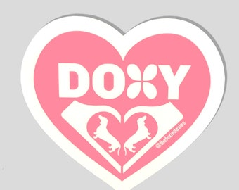 DOXY Pink Heart Stickers