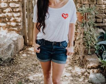 RED HEART DACHSHUND Scoop Neck Shirt