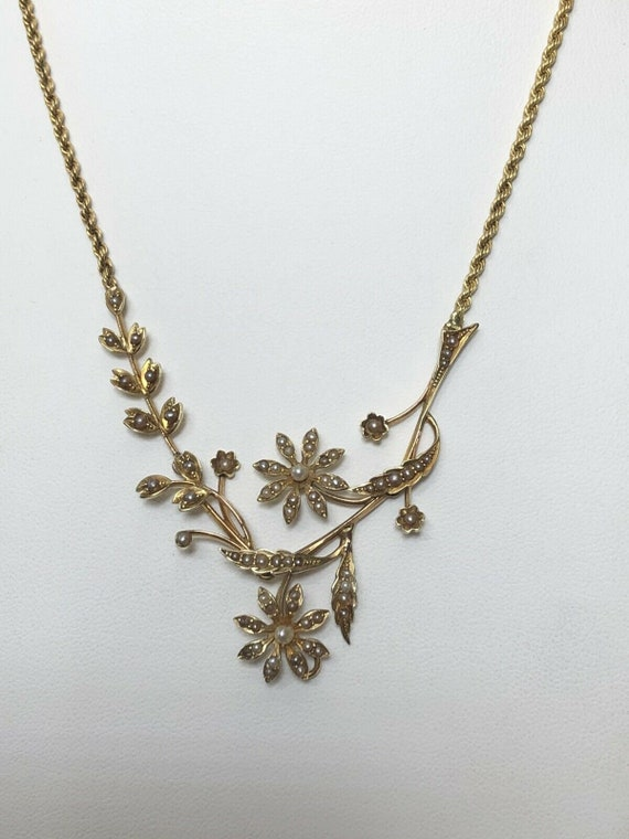 Antique Edwardian 15ct Gold Seed Pearl Flowers Nec