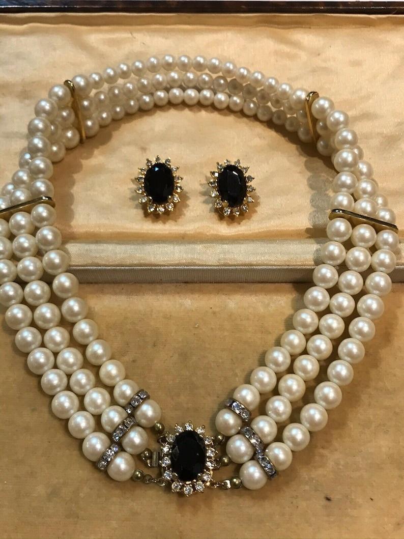 Vintage Faux Pearl Diamant Necklace Clip Earring Set
