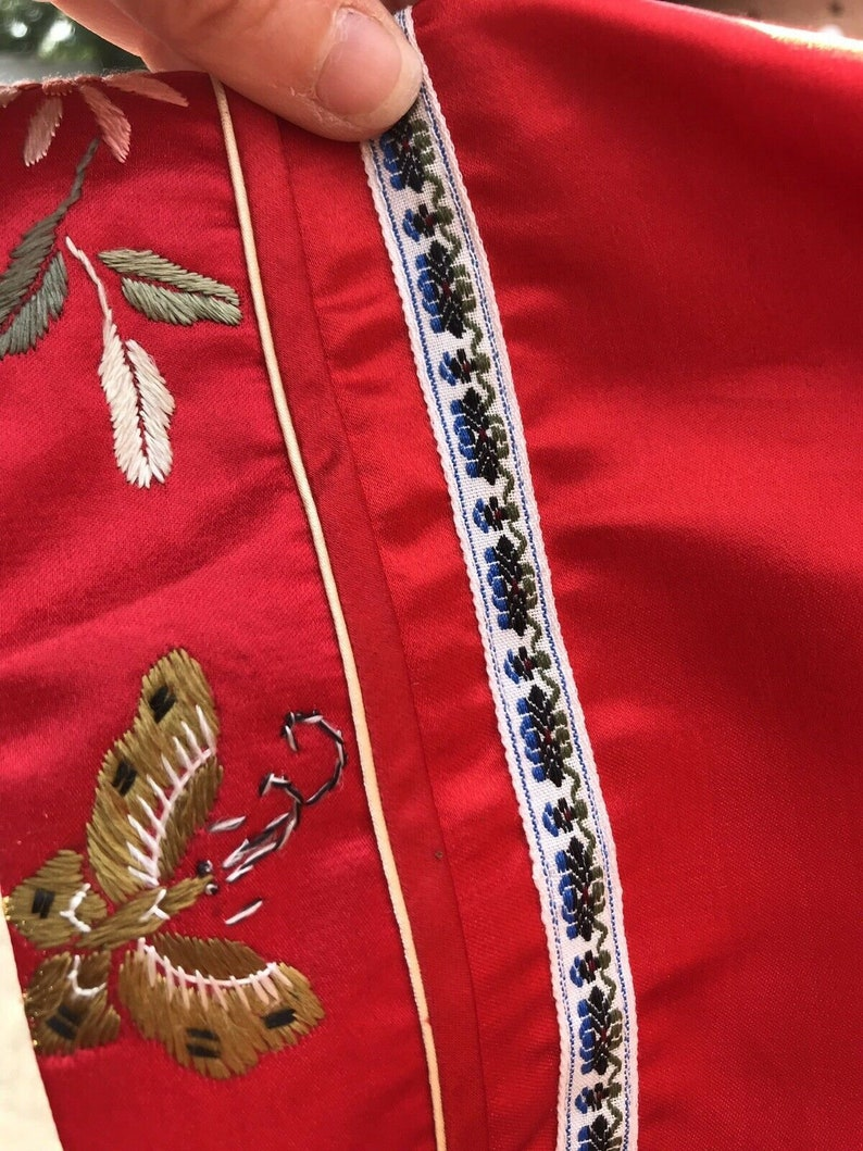 Vintage Silk And Rayon Red Chinese Embroidered Jacket