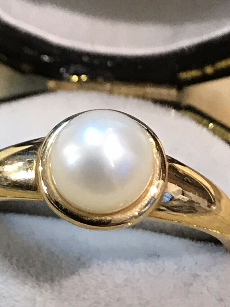 Vintage 14ct Gold Pearl Ring Size P12