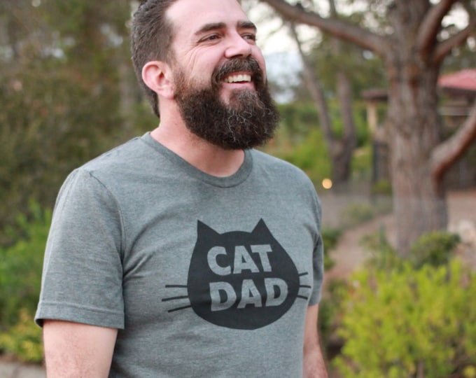 Featured listing image: Cat Dad, Cat Dad T-Shirt, Cat Dad Shirt, Cat Daddy, Unisex Cat Dad T-Shirt, Gray Heather Cat T-Shirt Holiday Gift from the Cat, Cat Dad Gift