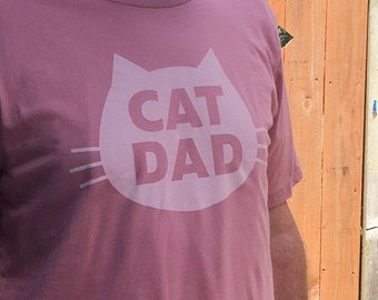 Cat T-Shirt, Cat Dad Gift, Cat Dad, Crazy Cat Dad, Holiday Gift for Cat Dad, Unisex T-Shirt, Mauve Cotton Cat T-Shirt