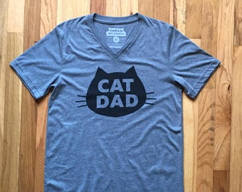 Cat T-Shirt, The Original Cat Dad, Unisex V-neck T-Shirt, Gray Heather Cat T-Shirt
