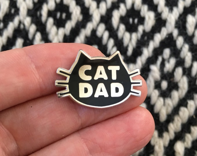 Featured listing image: Cat Dad, The Original Cat Dad Pin, Cat Dad Hard Enamel Pin, Crazy Cat Dad Enamel Pin, Stocking Stuffer, Cat Daddy, Father's Day