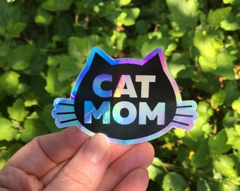 Cat Mom holographic sticker