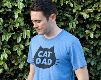 Cat T-Shirt Cat Dad, Unisex T-Shirt, Blue Heather Cat T-Shirt
